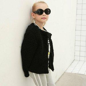 Grossas de inverno casaco quente Moda da menina da criança 100% falso casaco de pele da menina O-pescoço curto Cropped Tops Jacket Moda Streetwear