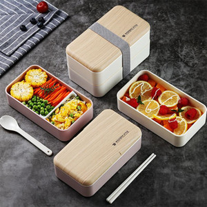 Microwave Double Layer Lunch Box 1200ml Wooden Feeling Salad Bento Box BPA Free Portable Food Container Box Workers Student