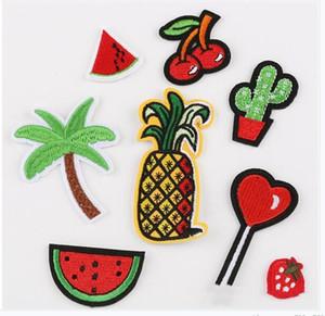 Modello 8Pcs / Set ricamo Patch frutta Cactus di noce di cocco cuore Applicazione per il sacchetto cappello a cilindro pantaloni Patches del tessuto dei vestiti Stickers 1127