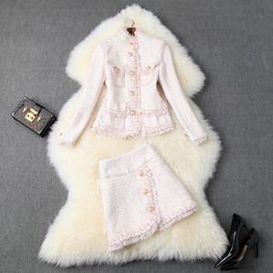 2019 Fall-Herbst-Rosa Langarm Rundhalsausschnitt Tweed Taschen Top-Jacke + Tassel Buttons mini kurzer Rock-Zweiteiler 2 Stück Set O2210292