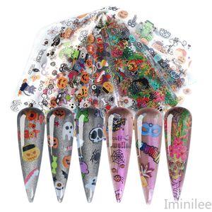 10pcs / lot Halloween Nagel-Folien-Schädel-Knochen-Kürbis-Kleber-Aufkleber-Nagel-Art Transfer Tattoo Foils DIY Maniküre-Dekor-Wraps