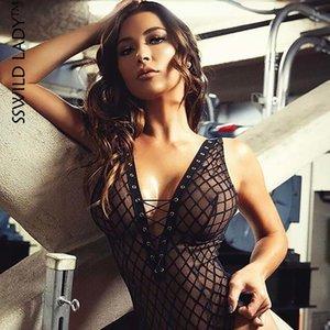 SSWILD LADY Frauen Balck durchschauen Mesh-Body Erotic Plaid geöffnete Gabelungs Body Suit Porno Lingerie Transparent Sexy Teddy 3589 MX200402