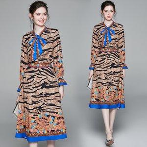 Bow Leopard Women's Set Shirt+skirt Long Sleeve High-end Spring Autumn Two Piece Set Fashion Elegant Lady Blouse Skirt Suit