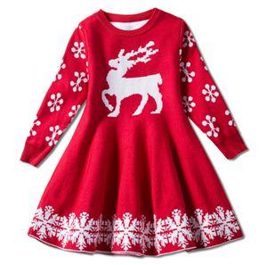 enfants tricot de cerf de bébé couleur rouge filles chritmas fille de vacances enfants robe chaudes jupes de fête