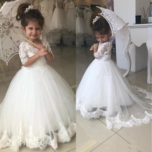 2019 Cute White Flower Girl Dresses For Weddings Half Sleeve Jewel Sweep Train Appliques Child Birthday Party Gowns First Communion Dress