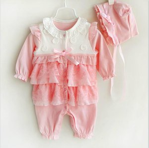 2pcs Newborn Baby Girl Rompers Lace Outfit Clothes Set Baby Princess Jumpsuit Hat Baby Rompers Clothing set