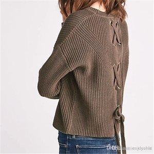 Schnüren sich damen pullover weg von der schulter strickwaren flare hülse herbst mode frauen pullover tops pullover sexy jumper überlegen