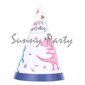 8pcs / lot Dinosaur Theme Cartoon Party Paper Hat Birthday Baby Shower Kid Hat Party Supplies Decoraciones