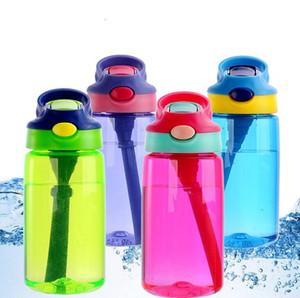 여자 소년을위한 손잡이를 가진 손가락으로 튀김 주둥이 그리고 밀짚을 가진 아이 물병은 가정을위한 BPA 자유로운 플라스틱 병 450ml를 끊습니다