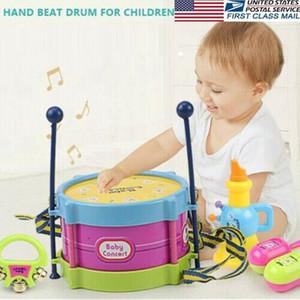 5Pcs Kinder Drum Trompete Spielzeug Musik Rhythmusinstrument Band Kit Early Learning-pädagogische Spielzeug-Baby-Kind-Kind-Geschenk-Set