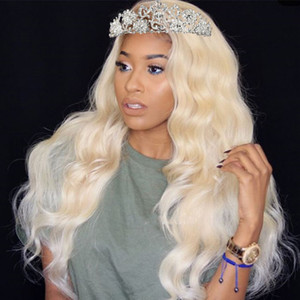 Peruvian Body Wave Blonde Lace Front Wig HD Lace Pre Plucked Virgin Glueless #613 Blonde Full Lace Human Hair Wigs With Baby Hair