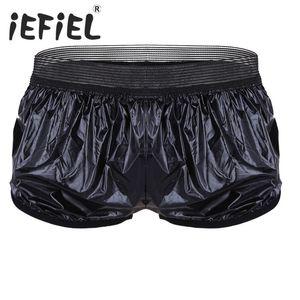 Men's Clothing iEFiEL New Arrival Summer Men Fashion Shorts Lightweight Faux Leather Boxer Shorts Trunk Wet Look Lounge Short Pants