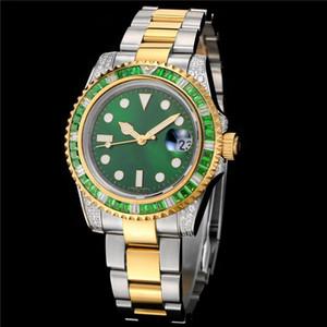 Otomatik hareket kol erkek yeni elmas montre de luxe Safir ayna adam izle izle dönen çember dışarı buzlu saatler saatler
