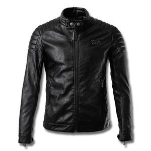 Männer Design-Motorrad Biker Lederjacke Trim Fit Neu Patch Full Zip Short Art-Qualitäts-Oberbekleidung