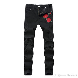 New Men &#039 ;S Embroidered Roses Denim Black Hole Pants Slim Stretch Pants Causal Denim Pants Streetwear Style Runway Rock Star Jeans Co