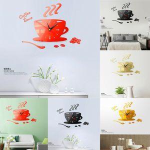 Moderno DIY Tetera Gran Reloj de Pared 3D Espejo Superficie Etiqueta Home Office Decor t