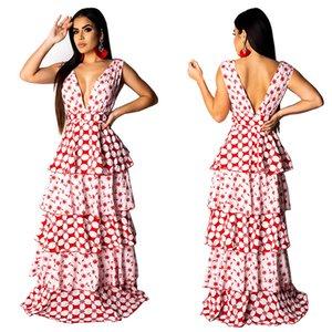 Donne Maxi Cake Dress Sexy stampato Deep V Neck senza maniche Beach Holiday Summer Abbigliamento Ladies Vacation Floral Wear Tuniche tuniche