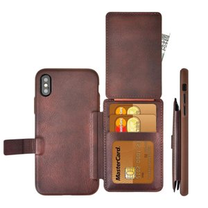 Großhandelsmappe mit Fotorahmen Kreditkarte schlagen PU-Leder-Halter-Telefon-Kasten für iPhone 7 7PLUS 8 X XR MAX für Samsung