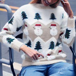 Warm Winter-Weihnachtsweihnachtsstrickwaren Frauen Pullover mit Schneemann-Frau, die gestrickten Pullover Thick Damen O-Ansatz Sweter Jumpers Mujer