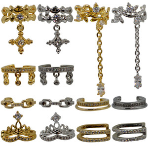 1PC Brass Faux Non Piercing Zircon Stud Ear Clip Ear Cartilage Helix Fake Piercing Earring Fashion Body Piercing Jewelry