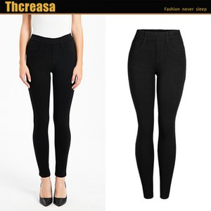 New women s pants solid color high elastic thickened autumn and winter pencil pants elastic waist thin jeans women s