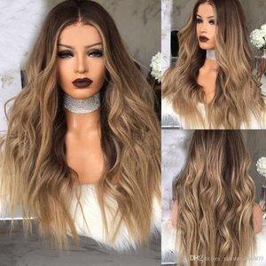 Donne lungo bionda riccia Ombre parrucche sintetiche capelli naturali completa Wavy Uk