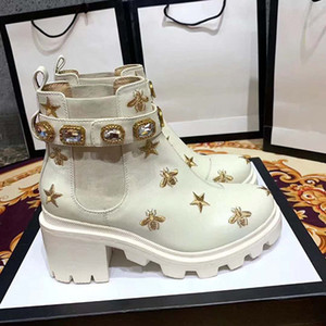 2020 de haute qualité chaussures en cuir à lacets femme bottines boucle de ceinture ruban usine automne directe femme tête ronde talon rude hiver