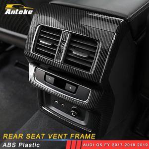 Acessórios Car Voltar traseira A / C ventilação Saída de ar Tampa guarnição do quadro Etiqueta Decoração para Audi Q5 FY 2017 2018 2019
