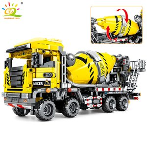 HUIQIBAO 1143Pcs Città agitazione camion Giocattoli Building Blocks Technic Construction Engineering Mixer Truck Car figure Mattoni Bambino CX200613
