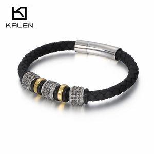 A 19 .5cm Retro Genuine Leather Bracelets Men &#039 ;S Women &#039 ;S Cubic Zircon &Stainless Steel Beads Charm Bracelet Bangle Jewelry