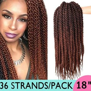 18inch 3D torcedura Cubic Braid (3 Piezas 12Roots / pieza) Ombre sintético Crochet la extensión del pelo (T1B / 30)