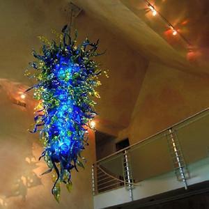 Éclairage européen Big Hanging Light Blue Luxury Grand lustre en cristal pour Hôtel Salle Salon Escalier