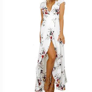 Tasarımcı Elbise dizayn edilmiş elbiseler Asimetrik Uzun Beyaz Çiçek Elbise Seksi V Yaka Bölünmüş Fit Flare Parti Elbise Designer Giyim Womens