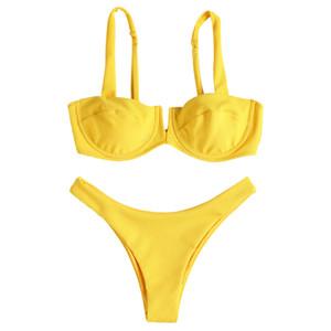 إمرأة مثير الأصفر البيكينيات مع رفع البرازيلي underwire مبطن 2 قطعة ثونغ قيعان ملابس السيدات شاطئ ملابس خاصة النسيج