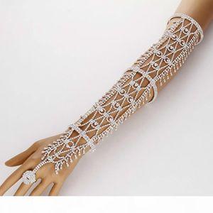Verkaufs-Frauen-Statement pflastern Kristall Strass Arm-Hand-Kette Stulpring Kupfer Armband Hochzeit Braut Promi-Bauchtänzerin Schmuck