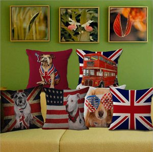 Eco-Friendly États-Unis Grande-Bretagne Drapeau National Pet Dog Coton Lin Coussin Coussin Case Housse Coussin Case Literie Taie