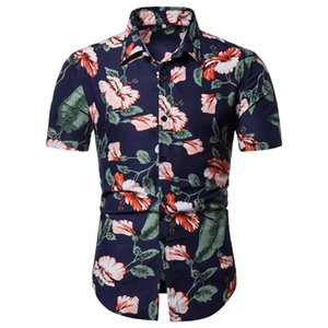 Fashion Mens Blouse And Tops Shirts Mens Summer Casual Beach Button Printed Short Sleeve Tops Hawaii Blouse
