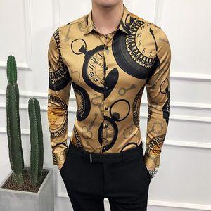 Freizeithemd Männer Langarmshirt Goldhemd 2019 koreanische Kleid-dünne Qualitäts-Smoking Fashion Club Arbeit Soziale 6XL