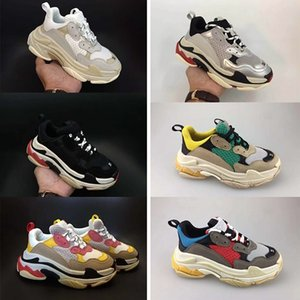 Paris Luxury Triple-S Designer Shoes Vintage Kids Boy Girl Youth Childrens Casual Old Dad Sneakers Black white red Thick-soled flat Trainers