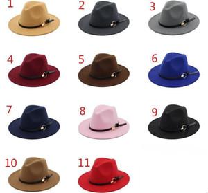 Moda de sombreros de fieltro de jazz sombreros TOP clásico para hombres, mujeres, elegante fieltro sólido sombrero de Fedora de banda ancha plana del borde de estilo Panamá Caps del sombrero de ala