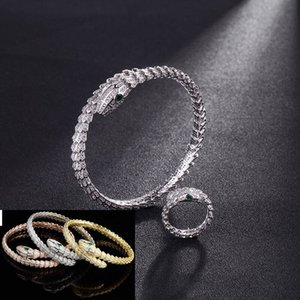 2020 European and American personality exquisite version full of diamond snake fashion jewelry ball classic micro-set zirconia adjustable br