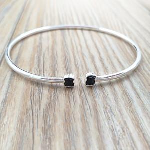 Подлинные браслеты стерлингового серебра 925 пробы мини браслет Onix в серебре с ониксом подходит Европейский медведь ювелирные изделия стиль подарок 918451500