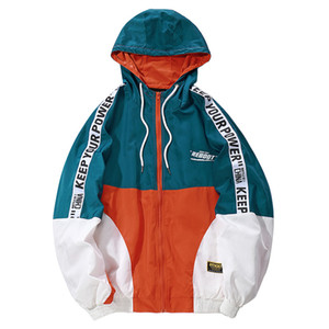 19FW Hip Hop uomo con cappuccio Giacca a vento autunno casuale giacca Vintage Color Block allentato pista con cappuccio cappotti Streetwear Dress Coppie