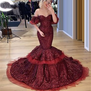 Long Burgundy Sequined Mermaid Prom Dresses 2021 Glitter Dresses Off The Shoulder Eevning Wear Sexy Formal Burgundy Evening Gowns