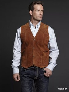 Airtailors Mens Cognac Boar Suede Leather Western Snap Front Vest