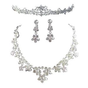 Set di tre pezzi di cristallo strass elegante Tiara Neckalce orecchini gioielli Set per la festa nuziale nuziale fidanzamento