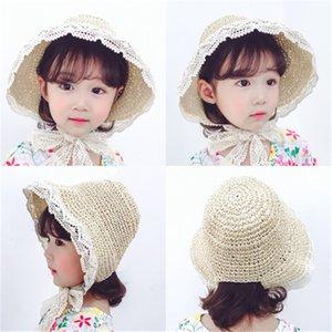 Summer children's straw hat sunscreen sun lace lace men and women baby fisherman hat Child parent hat HN317