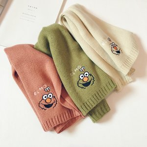 Solid Color Embroidery Cartoon Children Cashmere Scarf Soft Wool Boys and Girls Knitted Warm Korean Sweet Winter Neck Warmers
