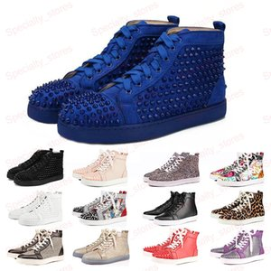 2020 New Red Bottoms Shoes For Mens Womens Luxury Designer Blue Rivet Suede Leather Platform Fashion Casual Sneakers 35-47 With Box