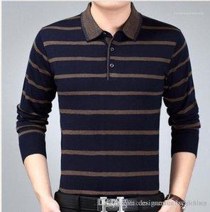 Padre Ropa diseñador de los hombres polo de la camiseta del resorte del otoño de negocios Tops nuevo macho con bandas de tejidos polos de la manera